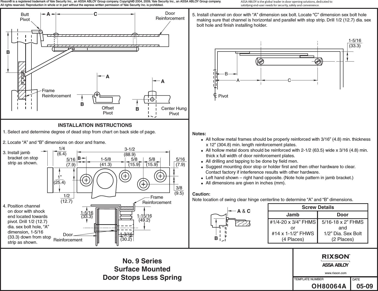 Rixson Oh80064a B No 9 Series Surface Mounted Door Stops Less