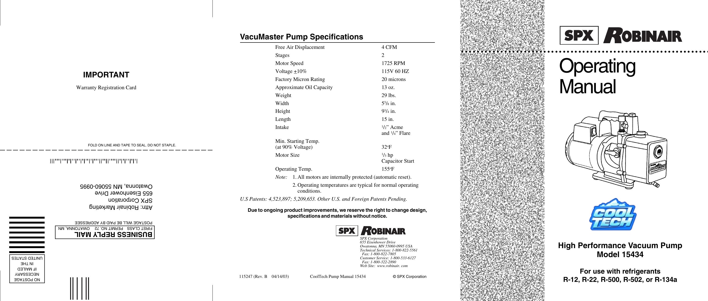 Robinair Cool Tech High Performance Vacuum Pump 15434 Users Manual Ac Unit Wiring Diagram 110973 15400 15600