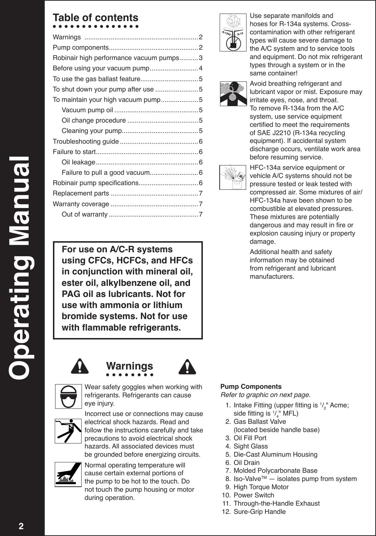 Robinair High Performance Vacuum Pump 15424 Users Manual Ac Unit Wiring Diagram Page 2 Of 8
