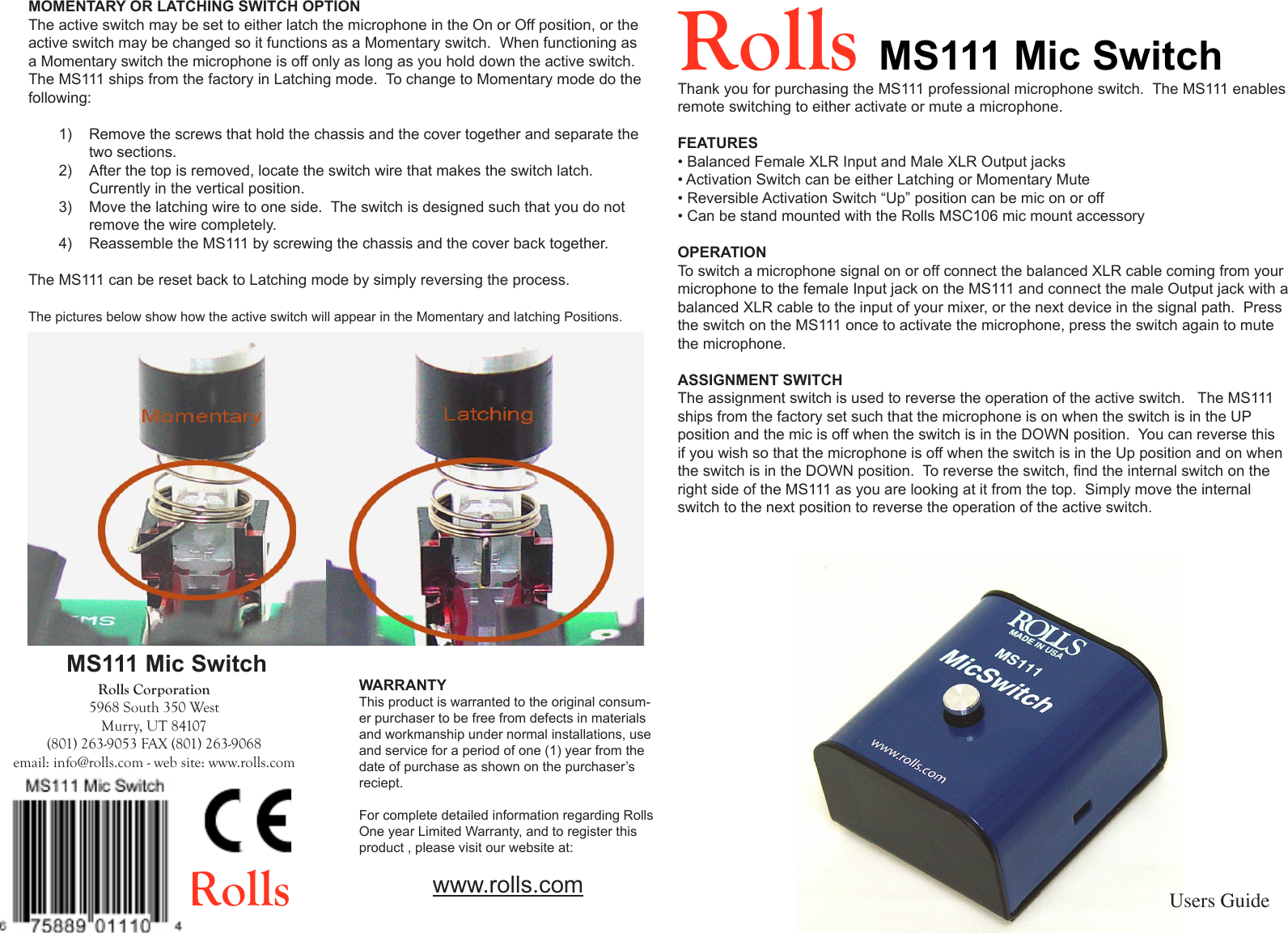 Rolls Mic Switch Ms111 Users Manual Wiring A 1 4 Out Put Jack