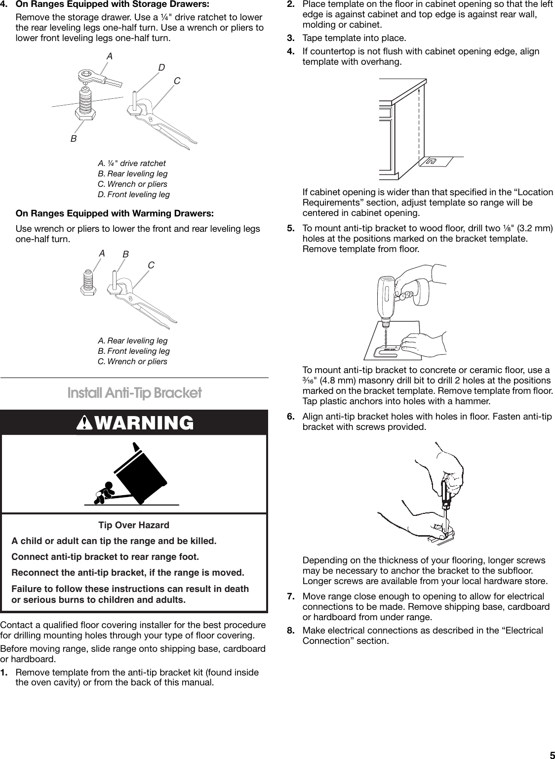 Roper Fep310vq Quick Start Guide Electric Range Wiring Diagram Page 5 Of 12