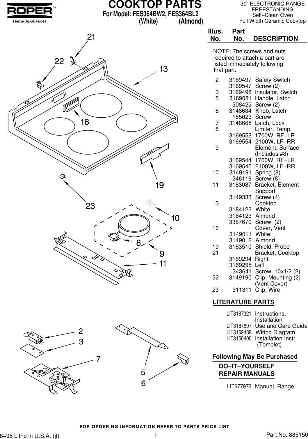 Roper Cooktop Fes364Bl2 Users Manual