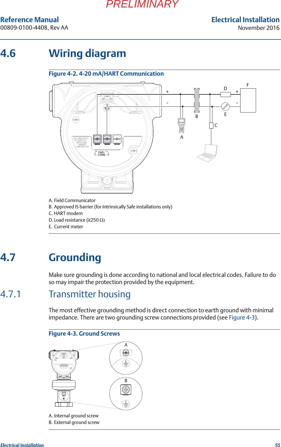 Rosemount Tank Radar 5408t 5408 Level Transmitter User Manual Intrinsically Safe Wiring 55reference 00809 0100 4408 Rev Aaelectrical Installationnovember 2016electrical Installationpreliminary46