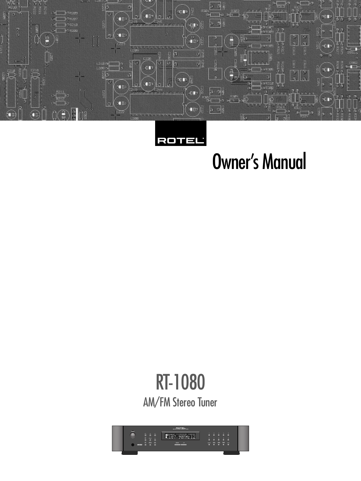 Rotel Rt 1080 Users Manual RT1080