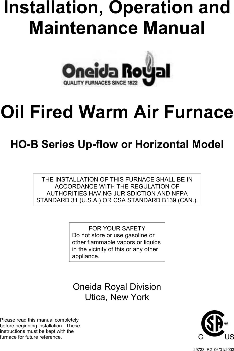 Royal Appliance Air Furnace Users Manual 29733 R2 06 01 03 Oneida Case Ih Wiring Schematic 1822 Ho B Installation Instruc