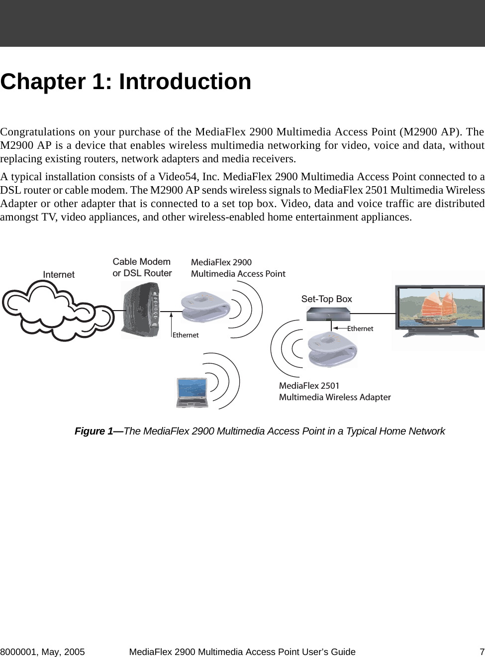 Ruckus Wireless Mf2900 Media Access Point 80211b G User Manual Typical Home Network Diagram 8000001 May 2005 Mediaflex 2900 Multimedia Users Guide 7chapter 1 Introduction