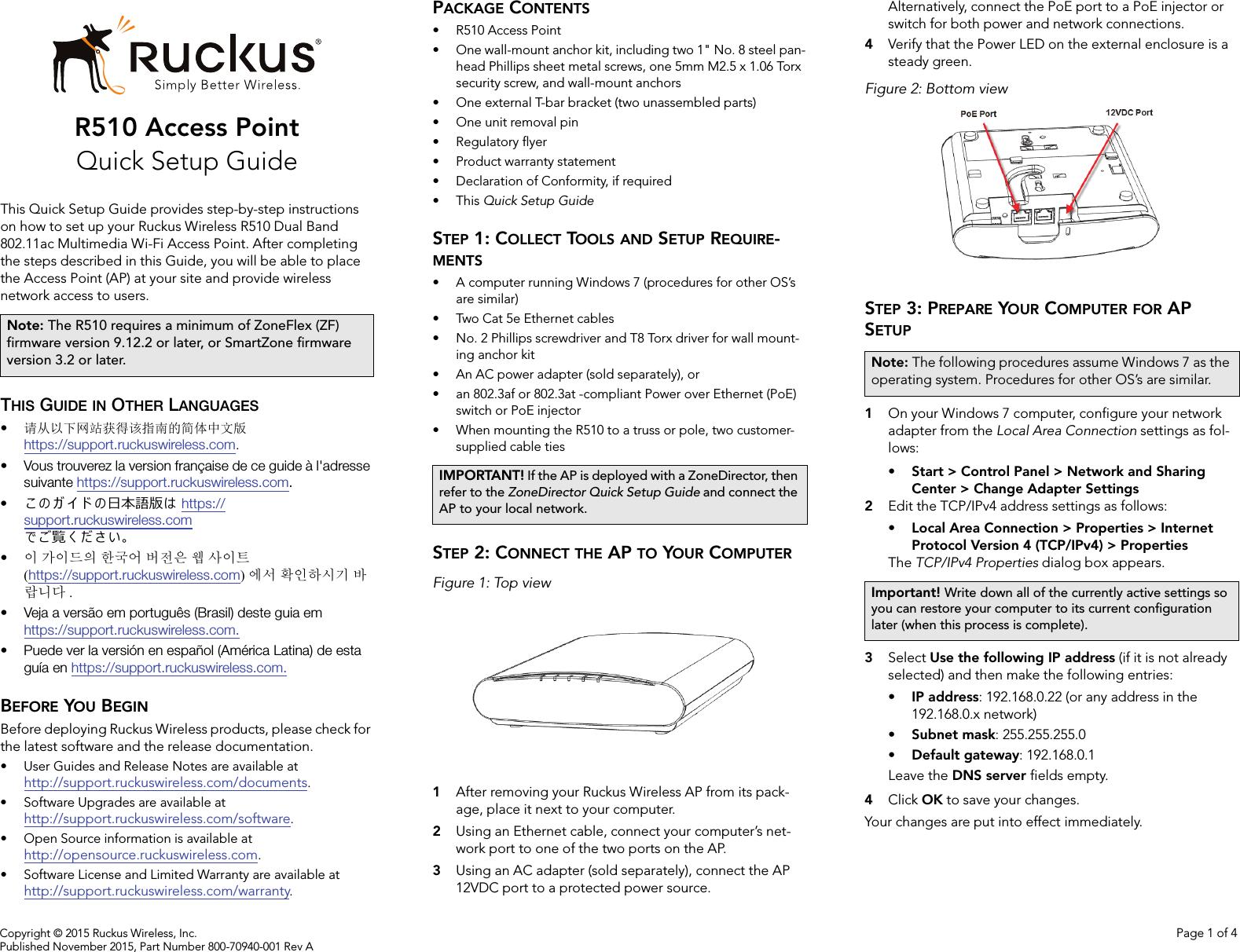 Ruckus Wireless R510 Zoneflex R510 Access Point User Manual