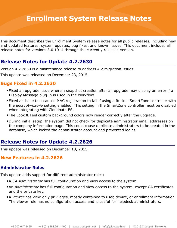 Ruckus Cloudpath ES Release Notes 4.2.2630 (GA)