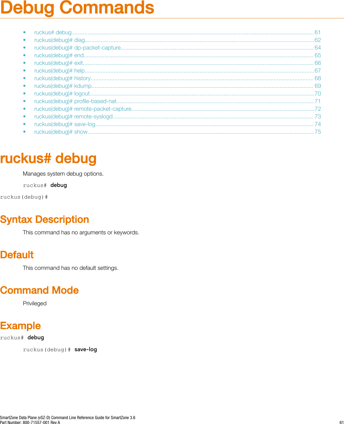 Ruckus SmartZone Data Plane (vSZ D) Command Line Reference Guide For