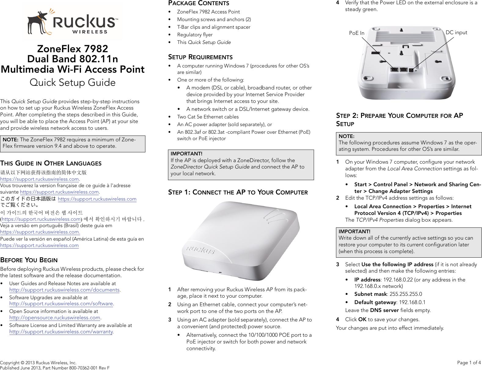 Ruckus Wireless AP ZF2942/7942 Quick Setup Guide Zone Flex