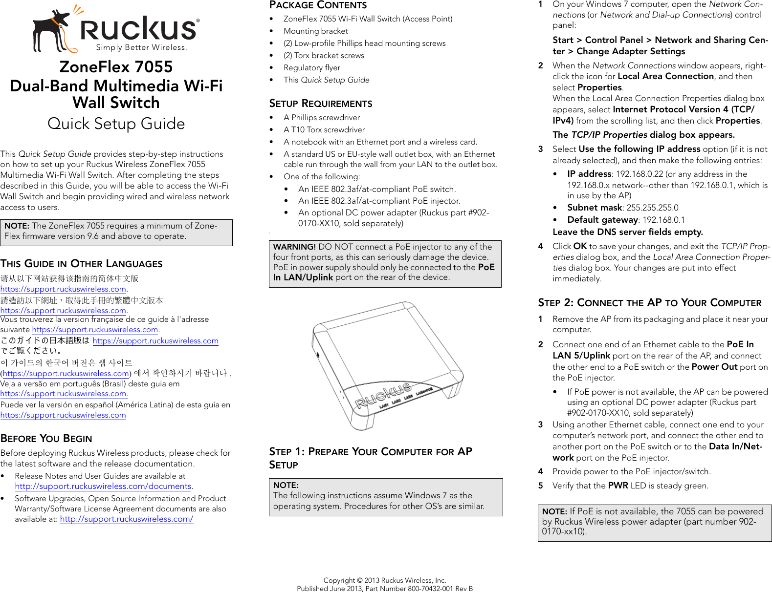 Ruckus Wireless Ap Zf2942 7942 Quick Setup Guide Zone Flex Zf7055 Ethernet Wall Jack Wiring Poe 7055 Qsg 800 70432 001 Rev B 20130614