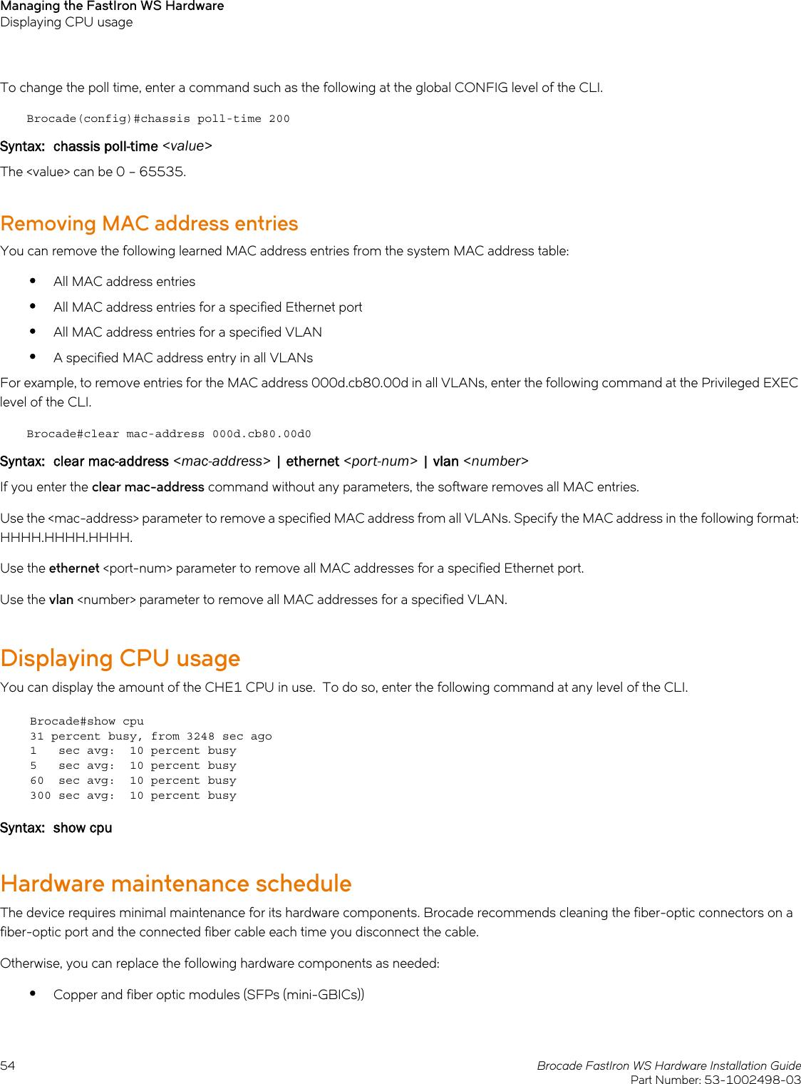 Ruckus Brocade FastIron WS Hardware Installation Guide Fast Iron