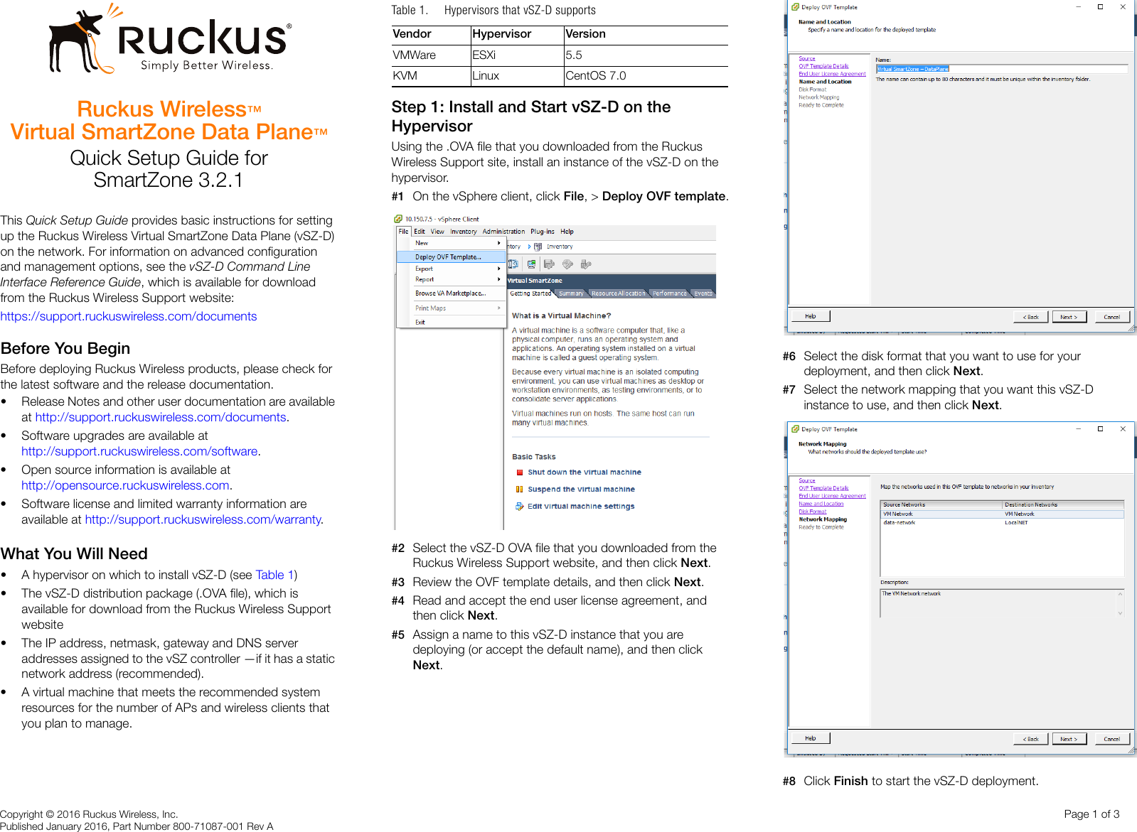 Ruckus Virtual SmartZone Data Plane (vSZ D™) Quick Setup Guide For