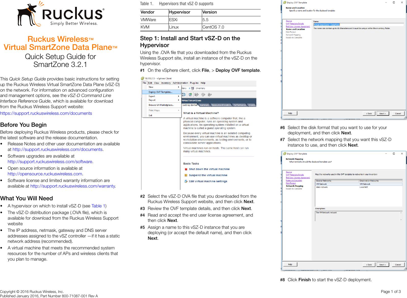 Ruckus Virtual SmartZone Data Plane (vSZ D™) Quick Setup