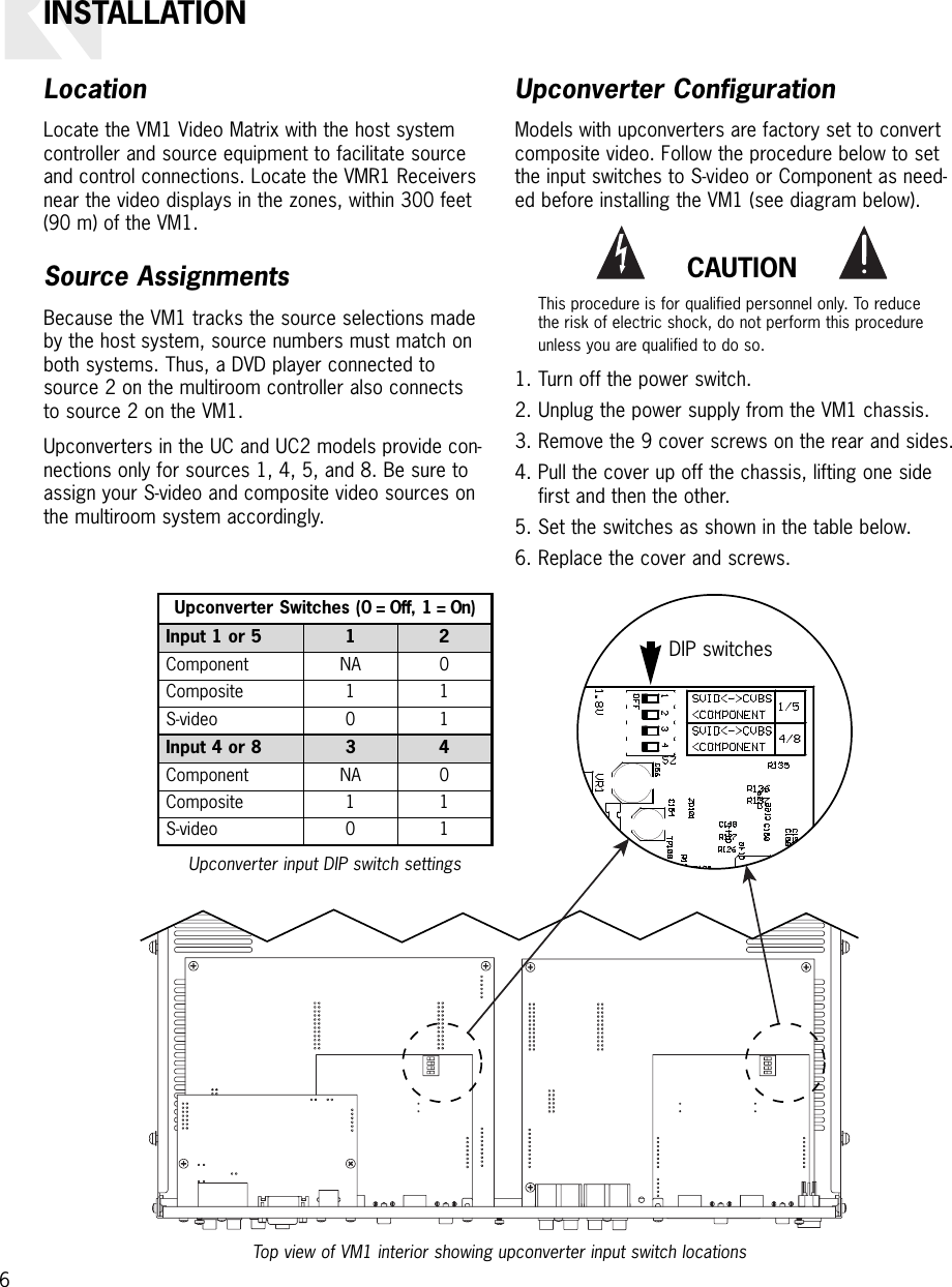 Russound Video Matrix Vm1 Users Manual 6 4 Wiring Diagram Page Of 12