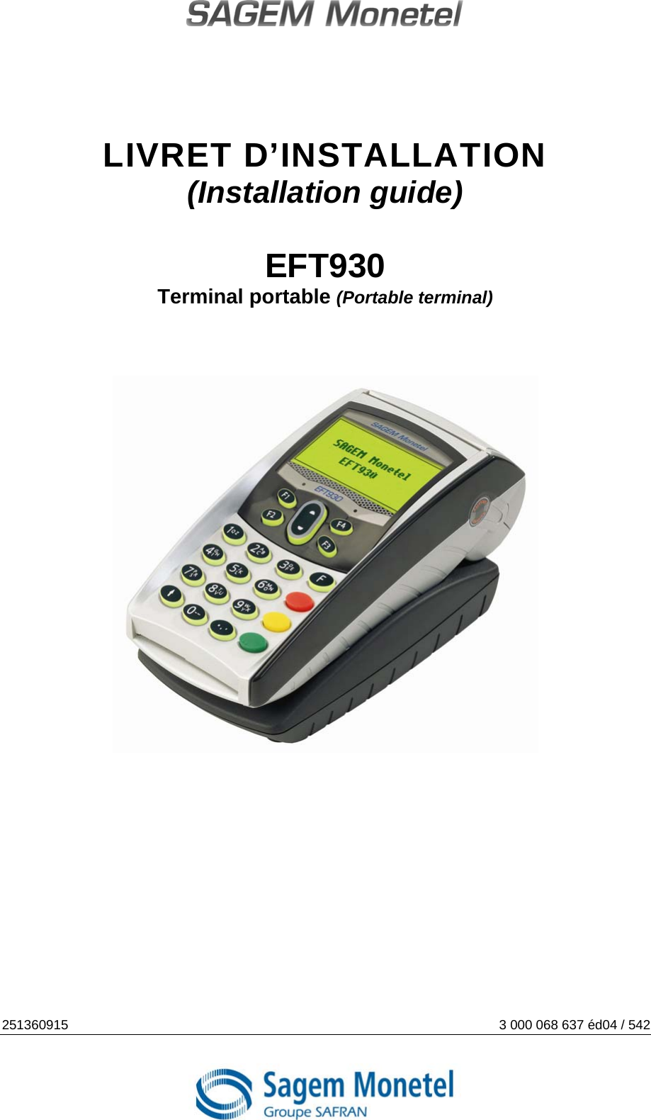 Sagem monetel eft930 hand held payment terminal user manual eft20p.