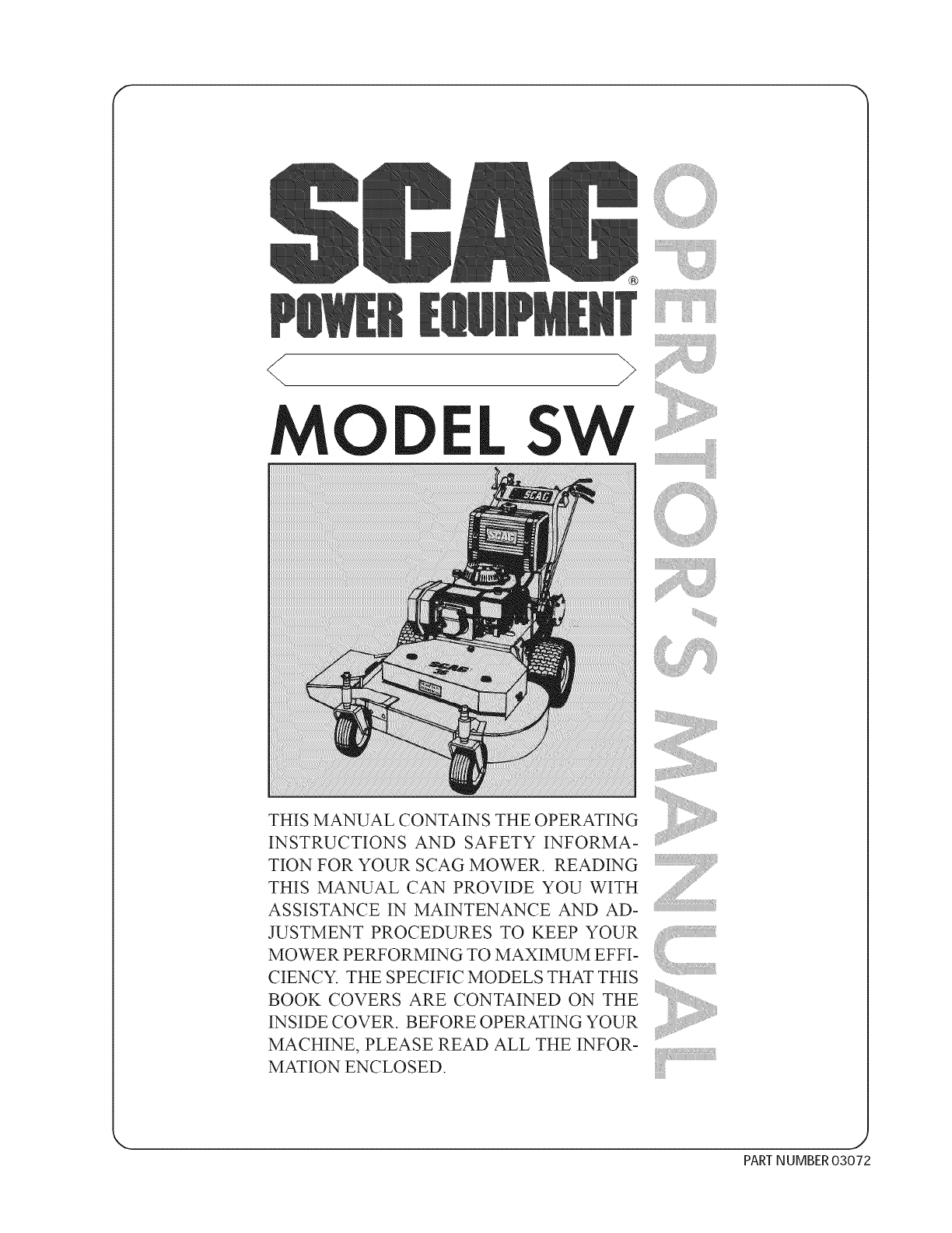 SCAG Walk Behind Lawnmower, Gas Manual L0811072