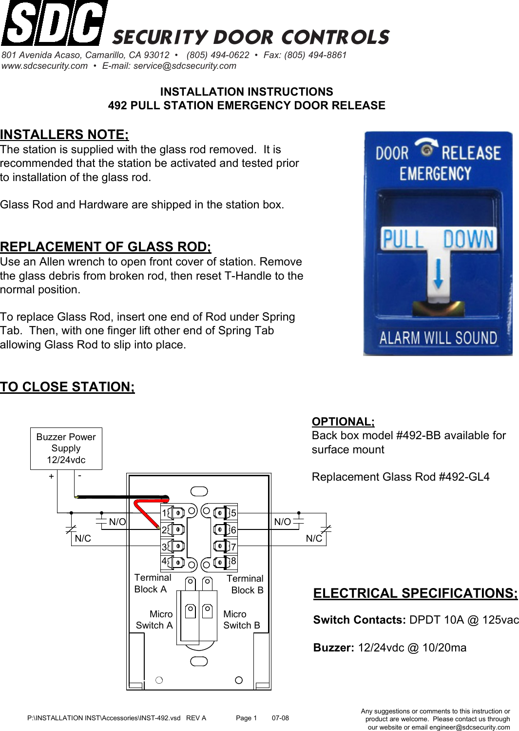 Sdc Visio Inst 491 492 Emergency Door Release Pull Station 24vdc Buzzer Wiring Diagram Installation Instructions