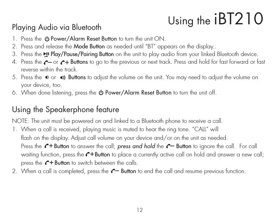 SDI Technologies IBT210 BT Alarm Clock Speaker with