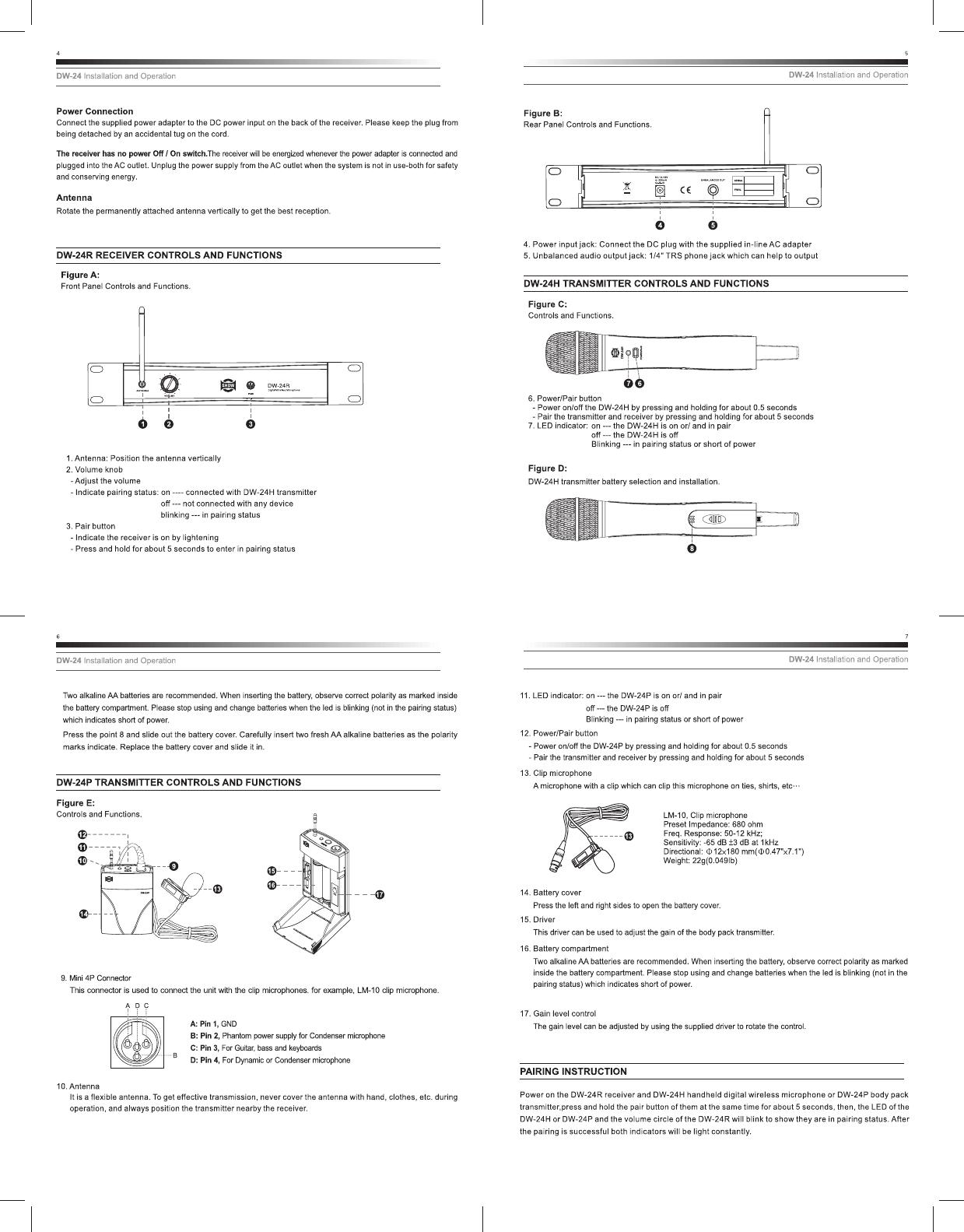 SEIKAKU TECHNICAL GROUP DW-24H Digital Wireless System User