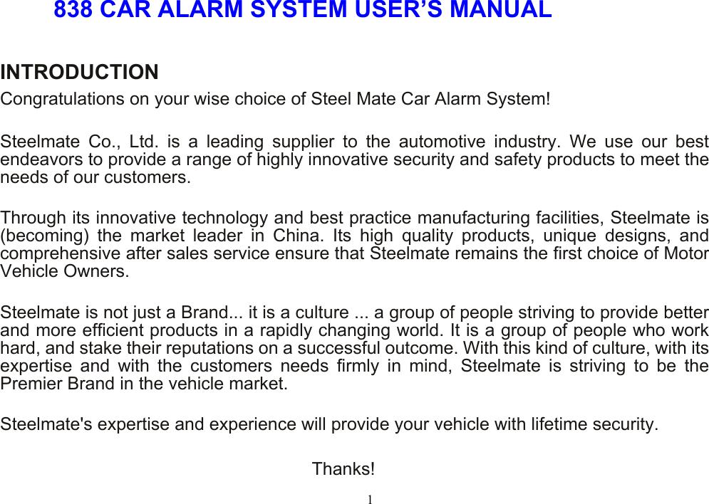 steelmate 838 car alarm system user manual 360923 rh usermanual wiki car alarm user manual car alarm user manual