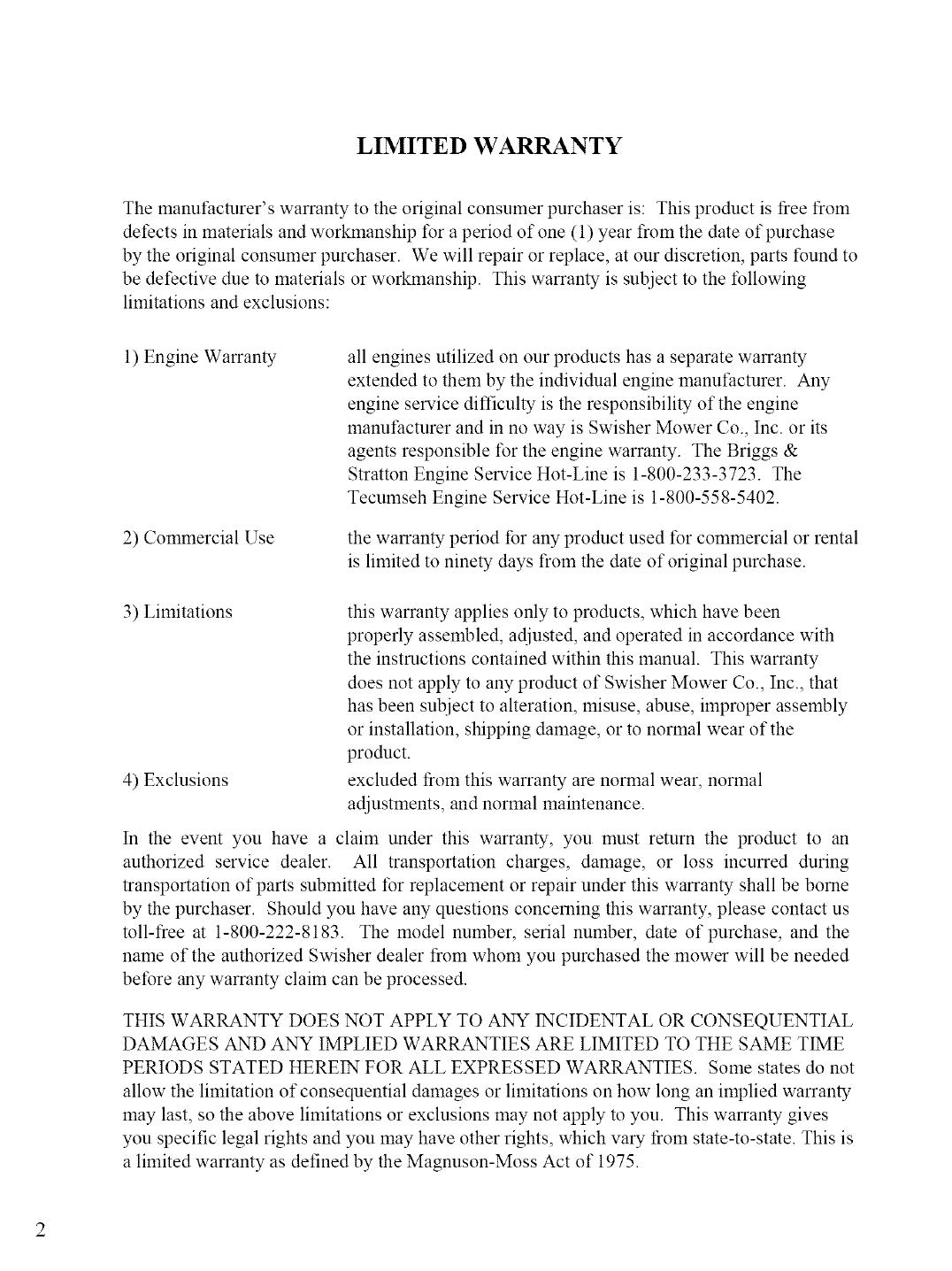 SWISHER Mower Deck Manual LR708248