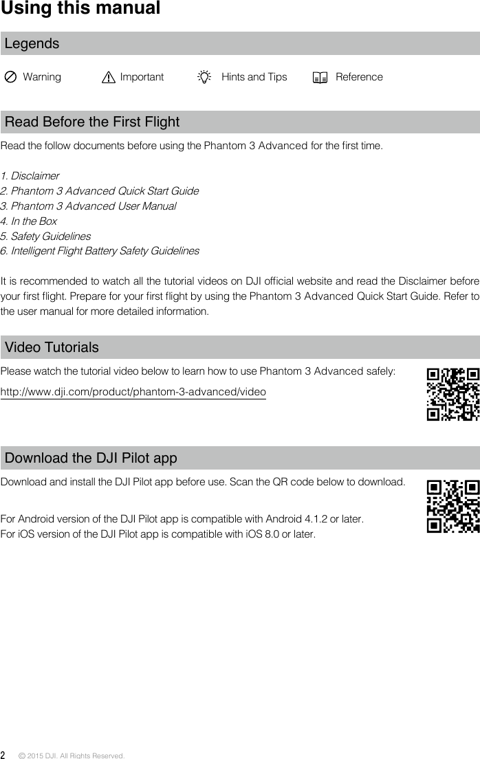 SZ DJI TECHNOLOGY WM3221510 Phantom 3 Advanced User Manual Part One