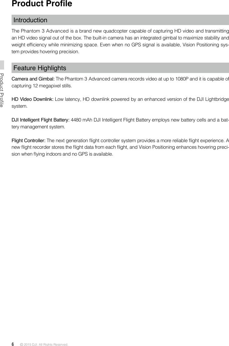SZ DJI TECHNOLOGY WM3221510 Phantom 3 Advanced User Manual