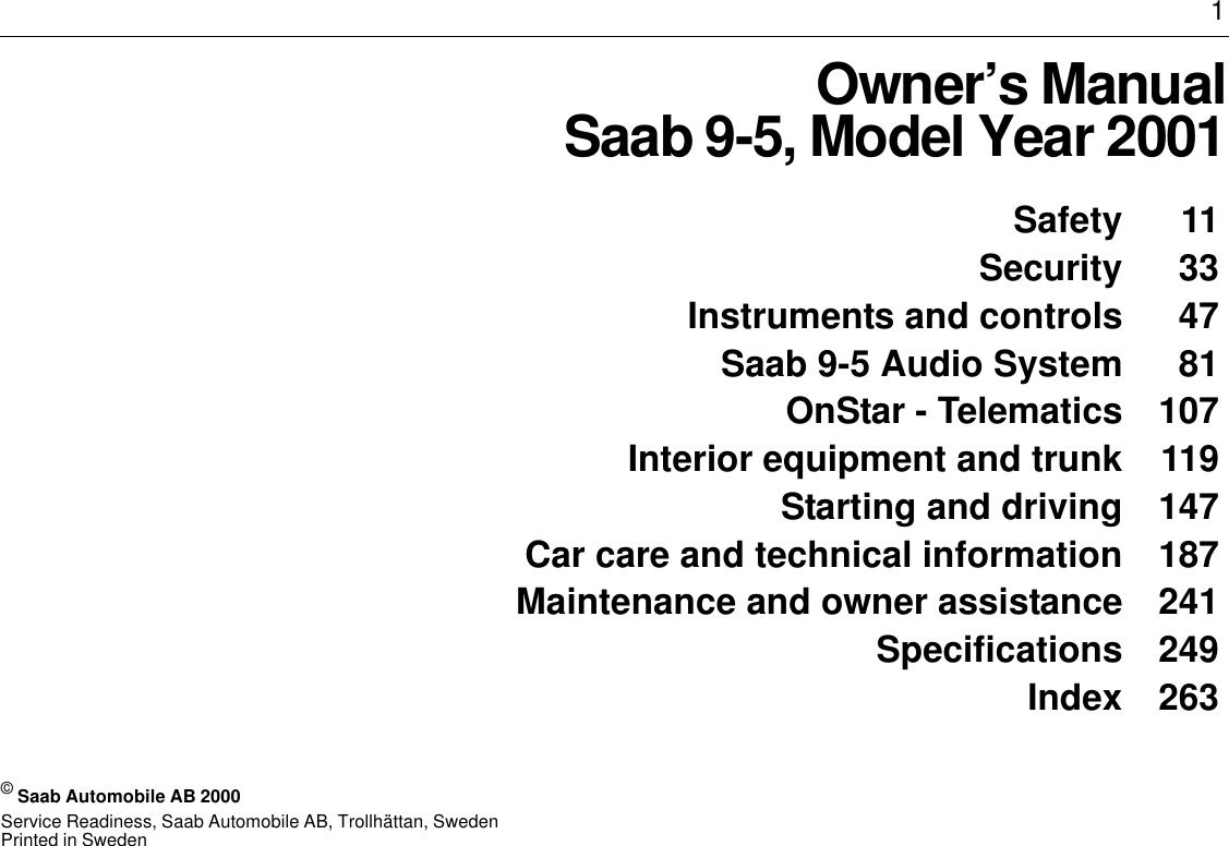 Saab 2001 9 5 owners manual 95us1m01 fandeluxe Gallery