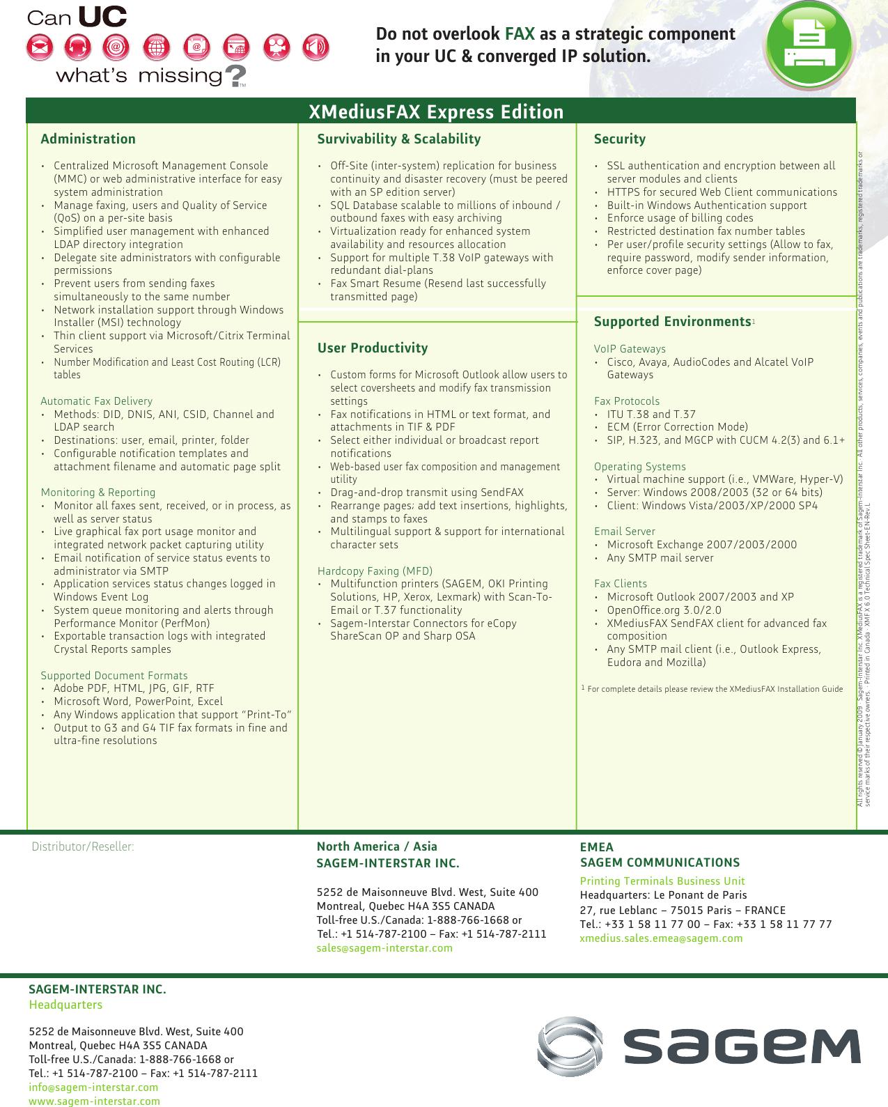 Page 2 of 2 - Sagem Sagem-Xmediusfax-Users-Manual-  Sagem-xmediusfax-users-manual