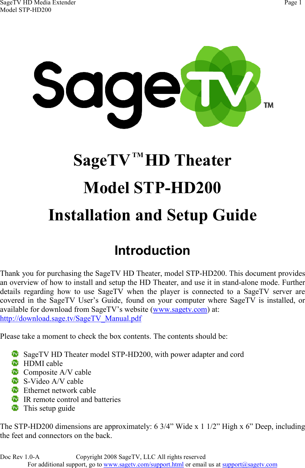 Sager Electronics Stp Hd200 Users Manual Sagetv Version 2 Guide Ir Remote Control Extender Circuit Mark 5 Page 1 Of 12