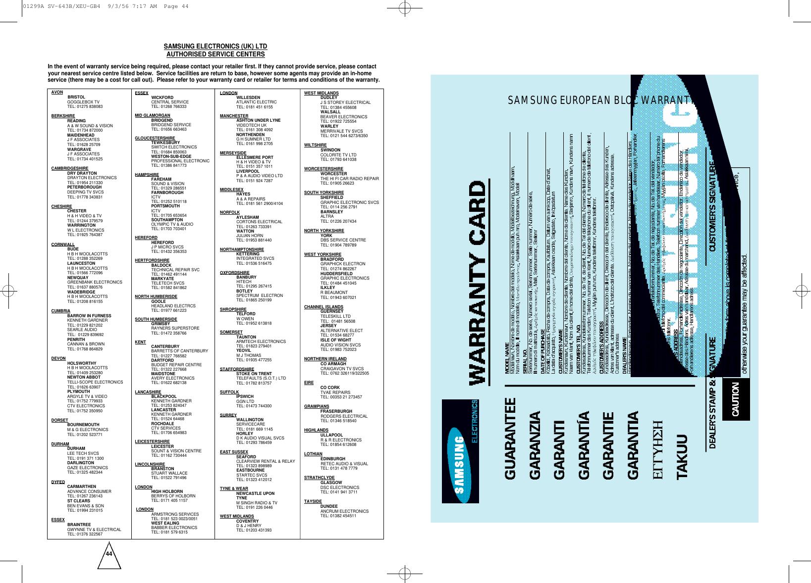 Samsung SV 645B/XEU 20030528093527046 01299ASV 643BXEU GB