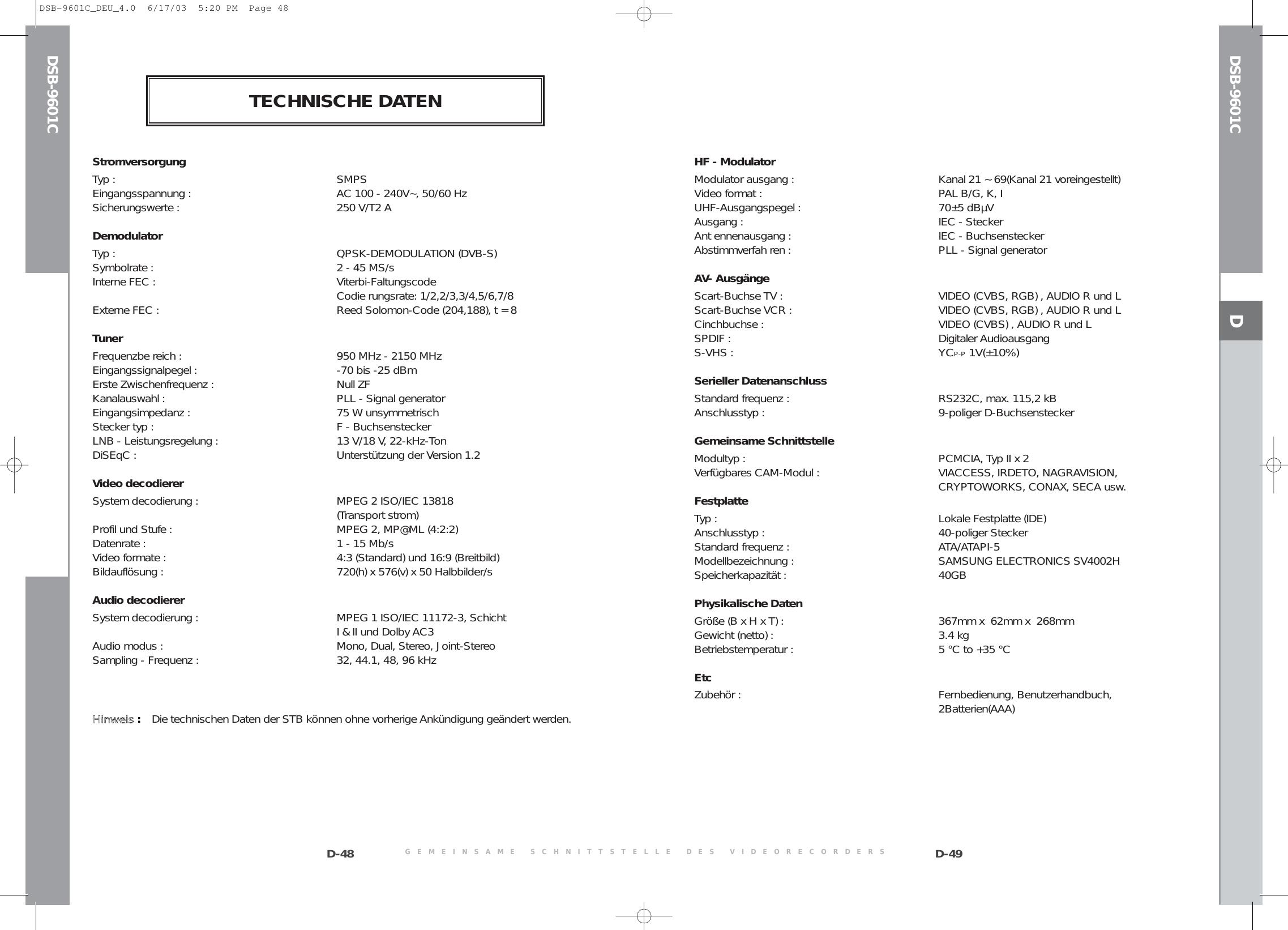 Samsung DSB 9601C COVER Del 20040329155012109 MF68 00263A