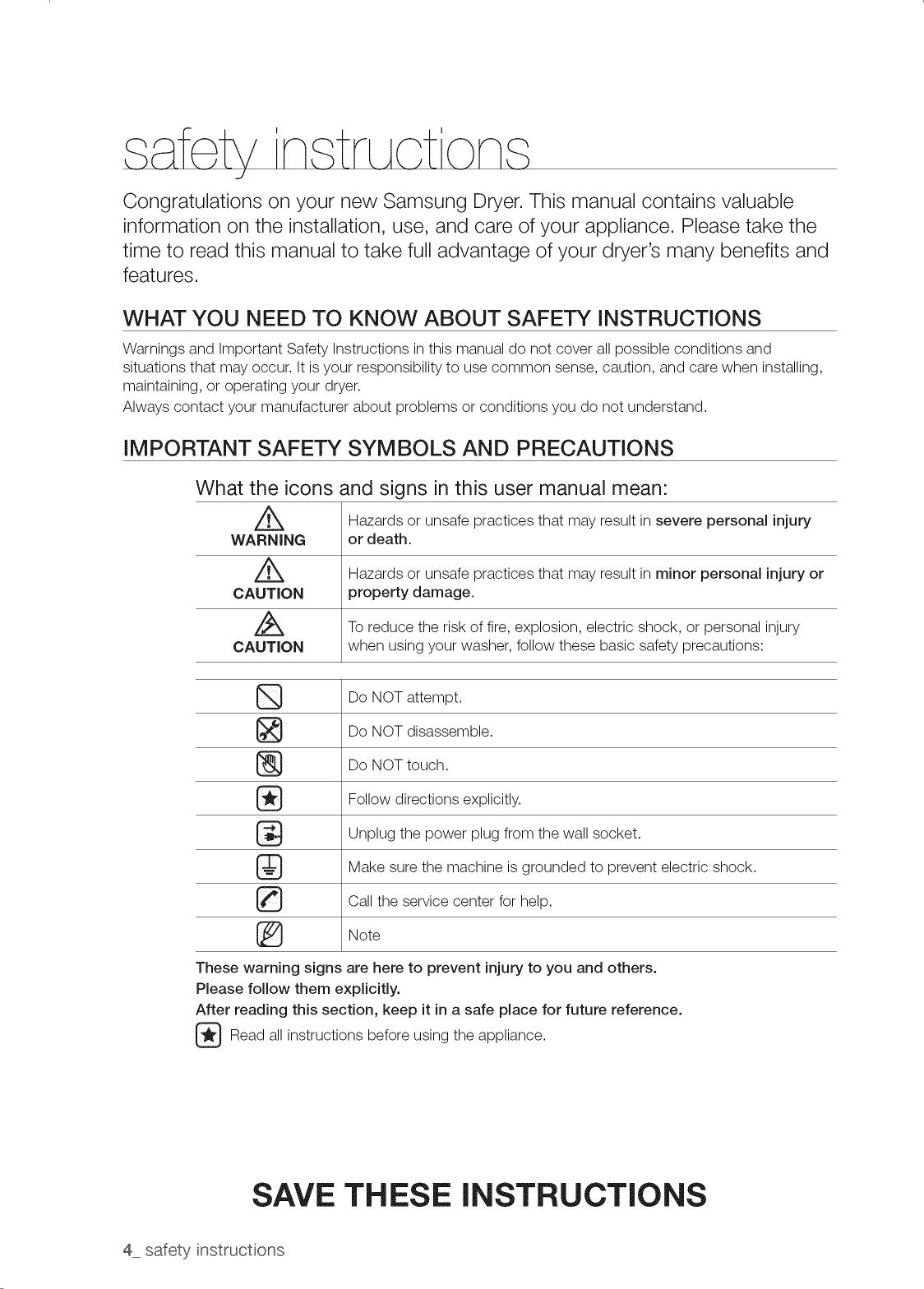 Samsung DV520AEP/XAA 0000 User Manual DRYER Manuals And