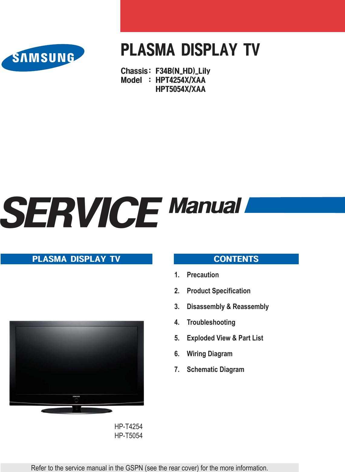 Samsung Hpt4254x Xaa Users Manual Engineering Schematics Plasma Flat Screen