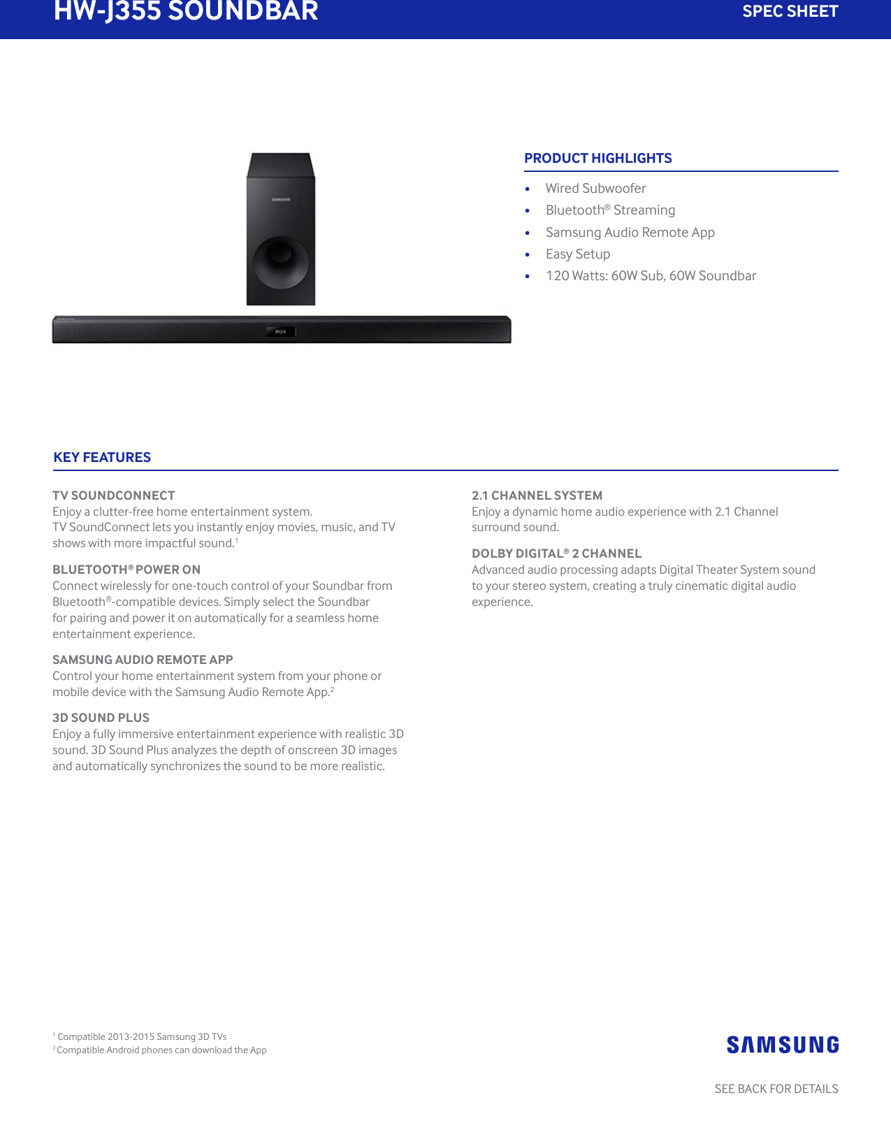 Samsung Hw J355 Za Specification Sheet Surround Sound Wiring Diagram