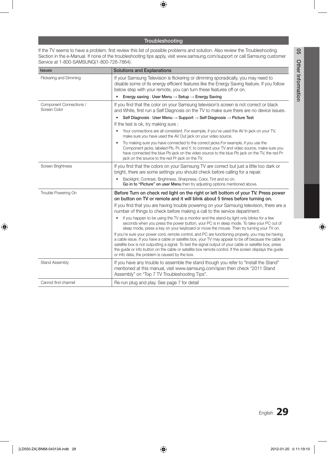 Samsung 46E550 Tv Ln46E550 Users Manual