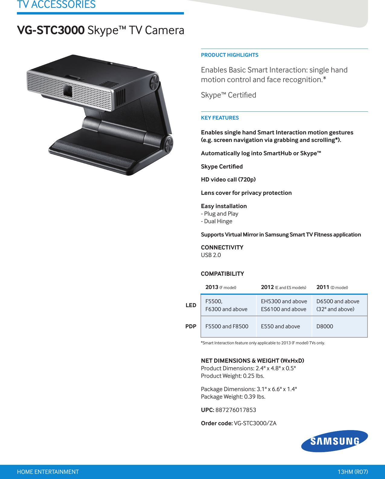 Samsung Skype Tv Camera Vgstc3000Za Users Manual