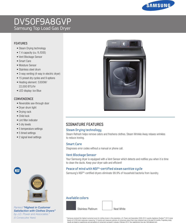 Samsung Top Load Gas Dryer Dv50F9A8Gvp Users Manual
