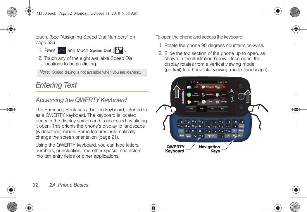 Samsung Seek Sprint User Guide SPH M350