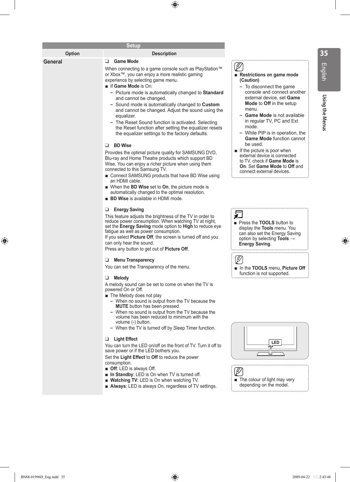 Samsung Ue40B8000 Users Manual