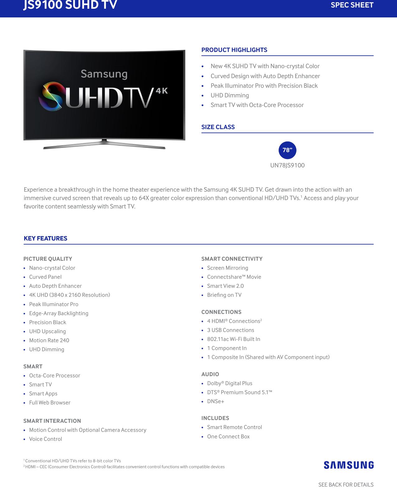 Samsung Un65Js9500Fxza Specification Sheet