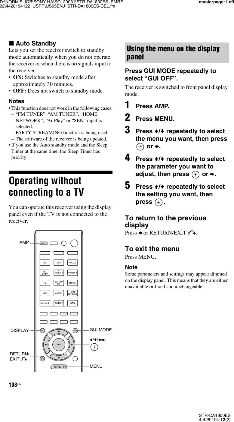 Samsung Sony Str Da1800Es Users Manual
