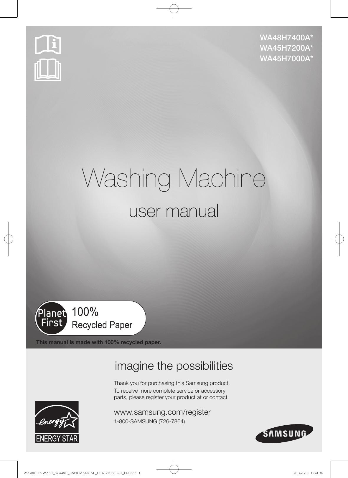 Samsung WA48H7400AW A2 Washing Machine Service Manual /& Repair Guide