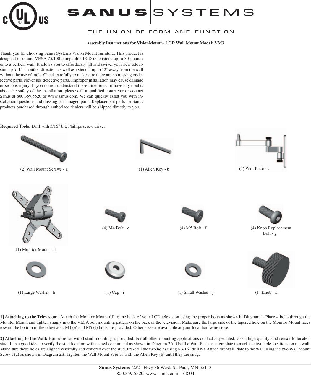 sanus systems visionmount lcd wall mount vm3 users manual rh usermanual wiki Sanus TV Mounts Sanus Wall Mount Installation