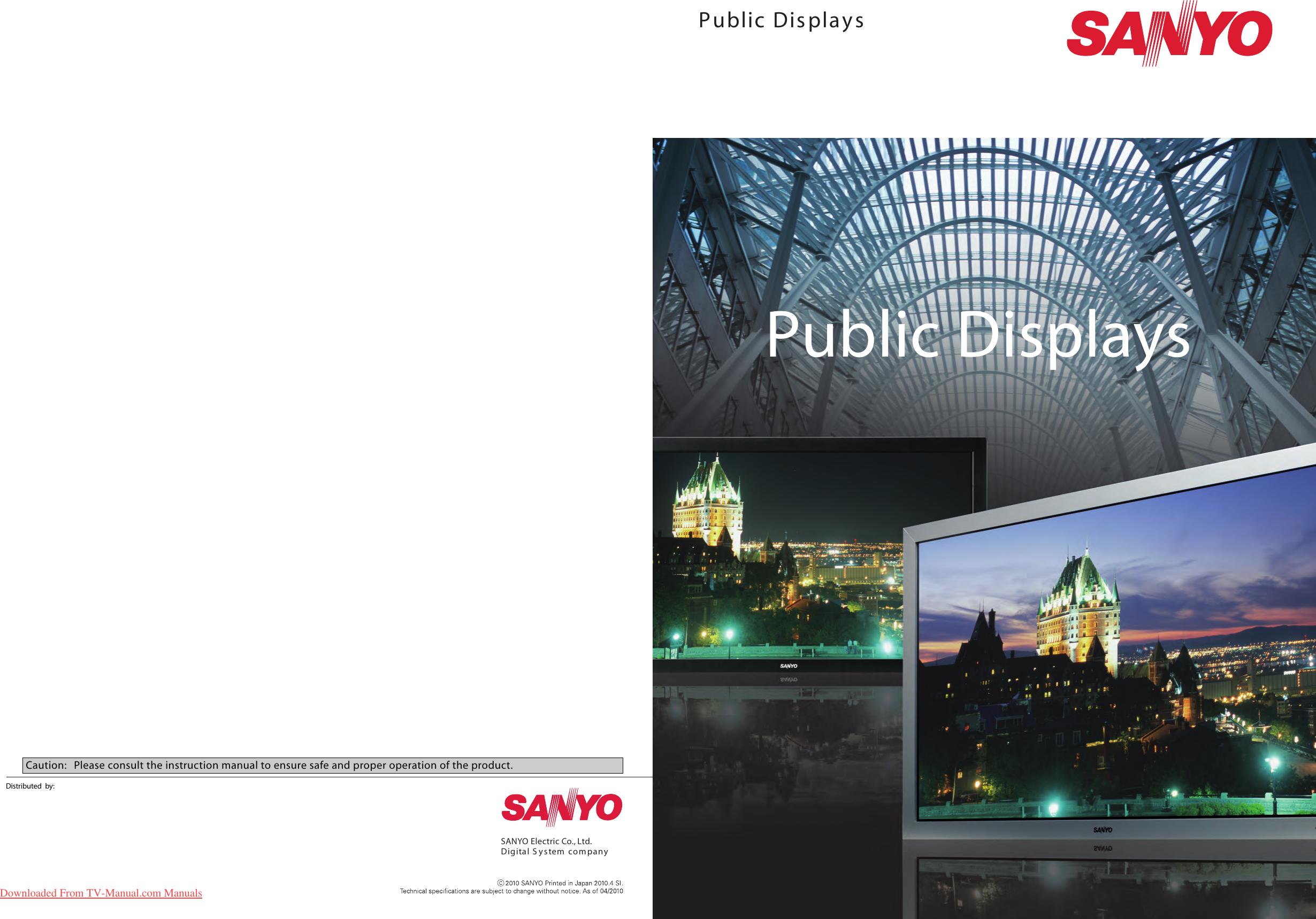 Sanyo 52SR3 42SR4 User Manual Tv Guide Operating