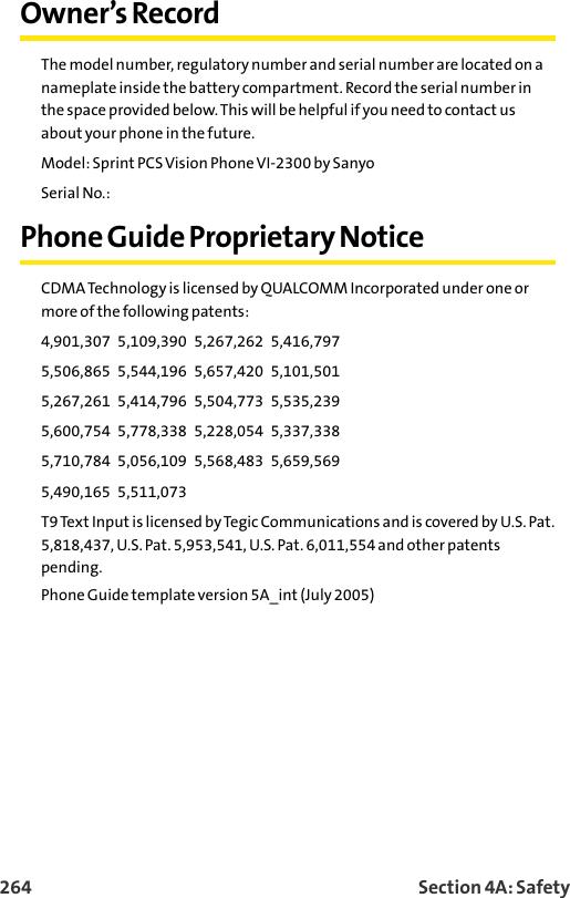 Sanyo Sprint Pcs Vision Phone Vi 2300 Users Manual Guide (090705)