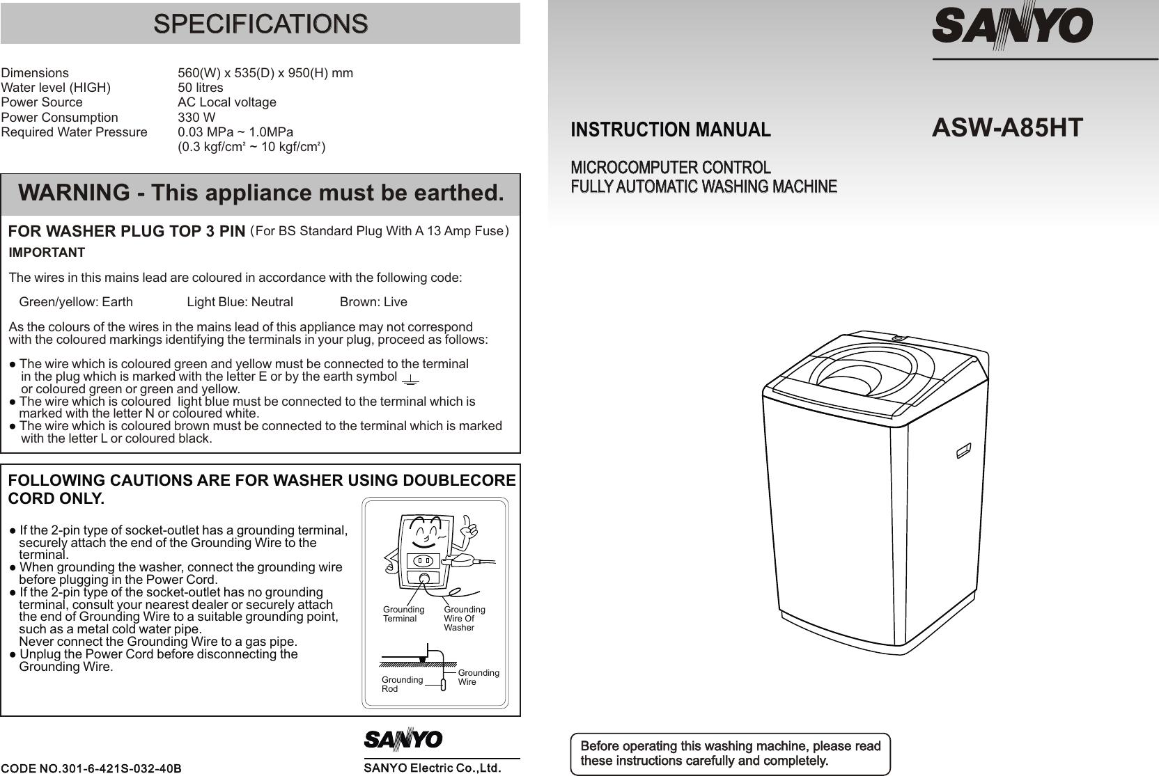 sanyo washer asw a85ht users manual a85ht rh usermanual wiki sanyo aqua washing machine manual sanyo washing machine instruction manual