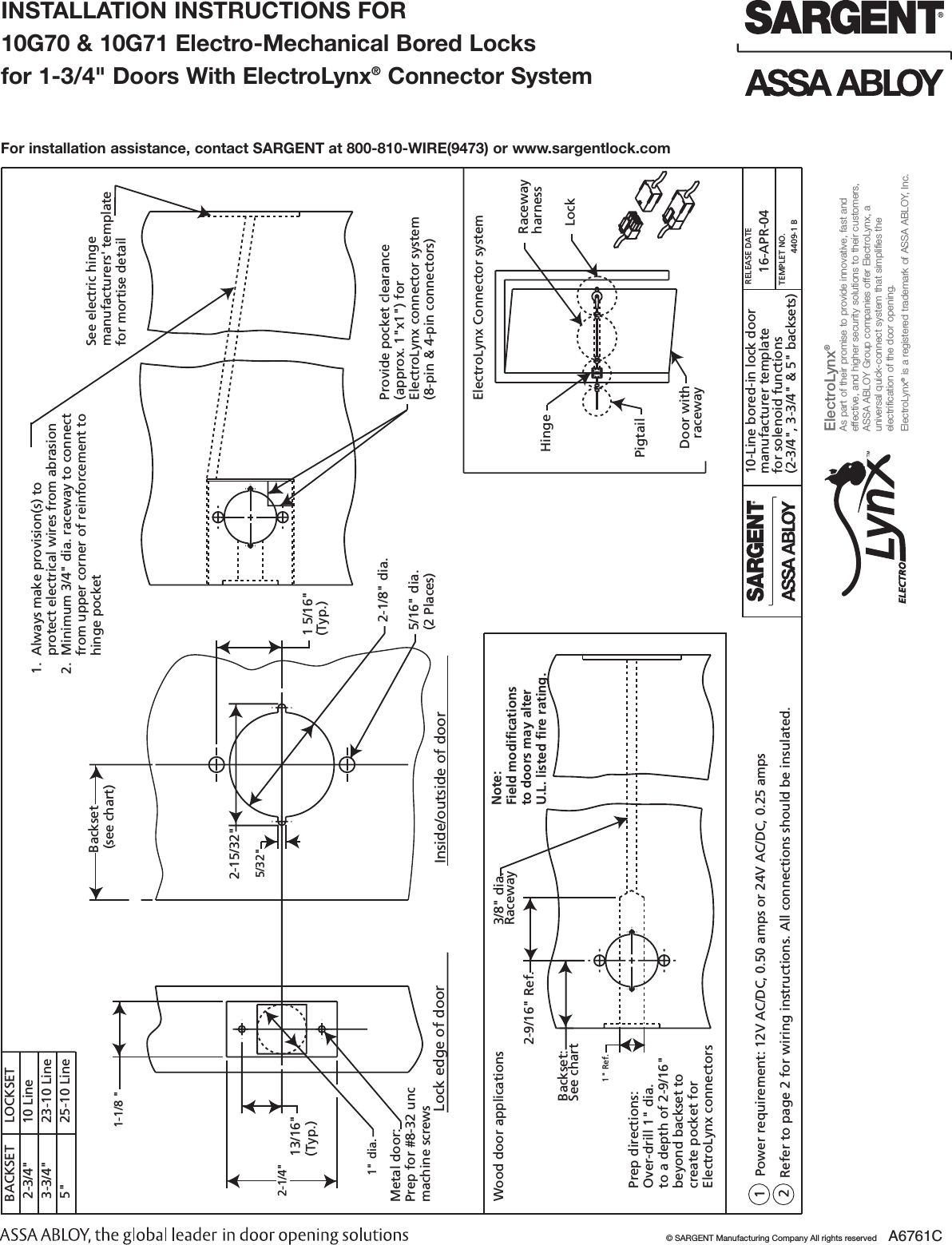 sargent a6761c installation instructions for 10g70 & 10g71 electro  mechanical bored lock 1 3/4 door with elect