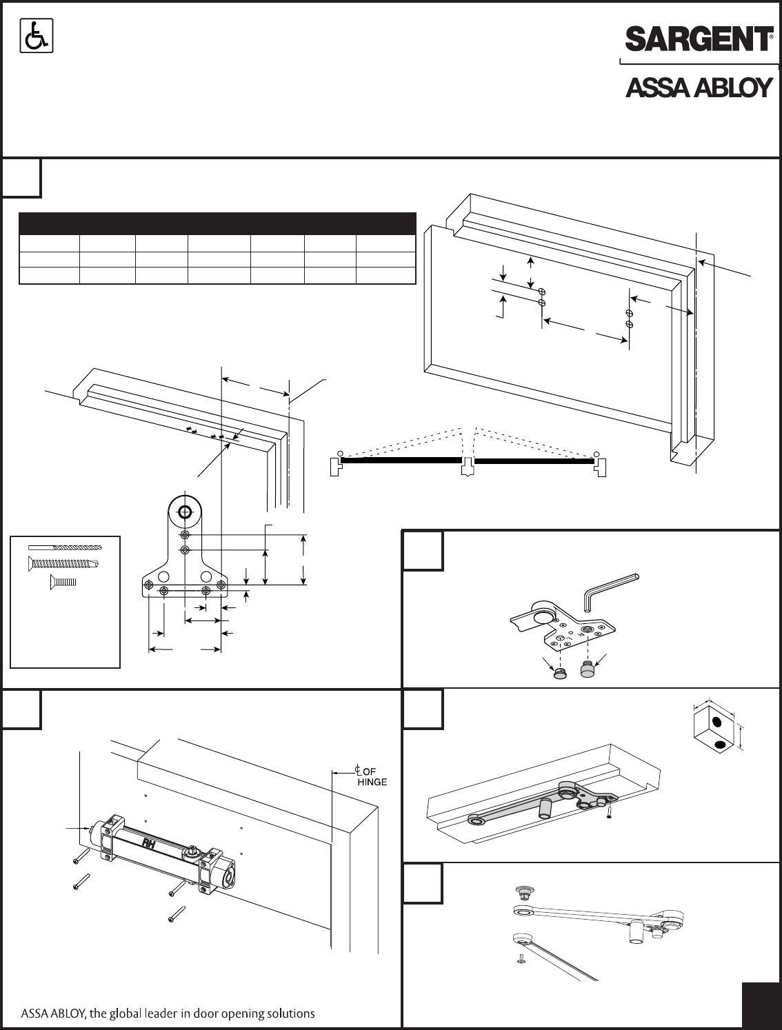 Sargent Instructions For Installing 351 Series Door Closers With ...